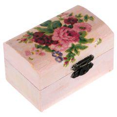 Cutie marturii, pictata manual, caseta bijuterii, 9 x 5.5 x 5 cm, model trandafir roz, Cutia cu bucurii