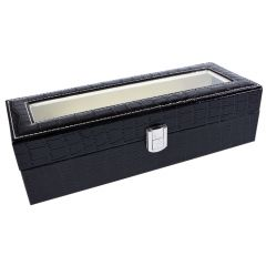 Cutie caseta 6 ceasuri, bijuterii, piele ecologica, croco, negru, 30 x 11 x 8 cm