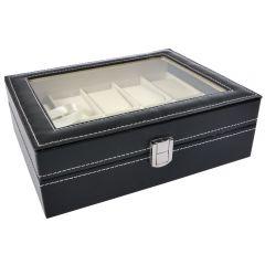 Cutie caseta 10 ceasuri, piele ecologica, negru
