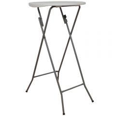 Masa plianta rotunda inalta pentru Banchet/Evenimente/Catering, picioare metal pliabile,  d 60 cm, h 110 cm, alb, Atelier