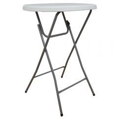 Masa plianta rotunda inalta, d 80 cm, h 110 cm, pentru Banchet/Evenimente/Catering, picioare metal pliabile, alb, Atelier