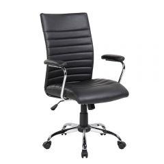 Scaun de birou, ergonomic, Atelier Luna, piele ecologica, negru