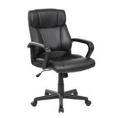 Scaun de birou, ergonomic, Atelier Mombi, piele ecologica, negru