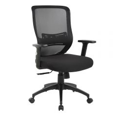 Scaun de birou ergonomic, Atelier Secco, textil + mesh, negru