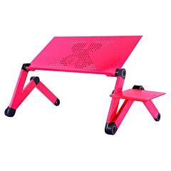 Masuta laptop multifunctionala, masa regabila inaltime, 3 articulatii, cu sistem dublu ventilatie tip coller USB, suport reglabil mouse, 42 x 26 cm, roz
