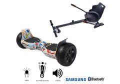 PACHET PROMO Smart Balance: Hoverboard Hummer Splash + Hoverseat, roti 8,5 inch Bluetooth, baterie Samsung, Boxe incorporate, AutoBalans, putere 700W, led-uri, lumini de zi/noapte, autonomie 15 km