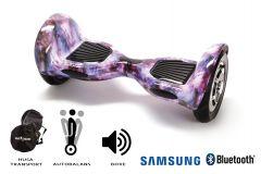 Hoverboard, Smart Balance, Off Road Galaxy, roti 10 inch Bluetooth, baterie Samsung, Boxe incorporate, AutoBalans, Geanta de transport, putere 700W, led-uri, lumini de zi/noapte, autonomie 15 km