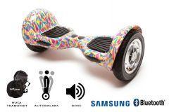 Hoverboard, Smart Balance, Off Road Abstract, roti 10 inch Bluetooth, baterie Samsung, Boxe incorporate, AutoBalans, Geanta de transport, putere 700W, led-uri, lumini de zi/noapte, autonomie 15 km