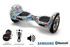 Hoverboard, Smart Balance, Off Road Clown, roti 10 inch Bluetooth, baterie Samsung, Boxe incorporate, AutoBalans, Geanta de transport, putere 700W, led-uri, lumini de zi/noapte, autonomie 15 km