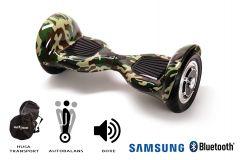 Hoverboard, Smart Balance, Off Road Camouflage, roti 10 inch Bluetooth, baterie Samsung, Boxe incorporate, AutoBalans, Geanta de transport, putere 700W, led-uri, lumini de zi/noapte, autonomie 15 km