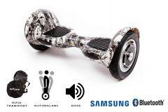 Hoverboard, Smart Balance, Off Road Skull Head, roti 10 inch Bluetooth, baterie Samsung, Boxe incorporate, AutoBalans, Geanta de transport, putere 700W, led-uri, lumini de zi/noapte, autonomie 15 km