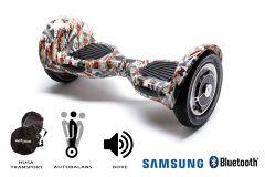 Hoverboard, Smart Balance, Off Road Tattoo, roti 10 inch Bluetooth, baterie Samsung, Boxe incorporate, AutoBalans, Geanta de transport, putere 700W, led-uri, lumini de zi/noapte, autonomie 15 km