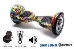Hoverboard, Smart Balance, Off Road HipHop, roti 10 inch Bluetooth, baterie Samsung, Boxe incorporate, AutoBalans, Geanta de transport, putere 700W, led-uri, lumini de zi/noapte, autonomie 15 km