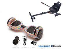 PACHET PROMO Smart Balance: Hoverboard Regular Abstract + Hoverseat, roti 6.5 inch Bluetooth, baterie Samsung, Boxe incorporate, AutoBalans, Geanta de transport, putere 700W, led-uri, lumini de zi/noapte, autonomie 15 km