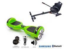 PACHET PROMO Smart Balance: Hoverboard Regular Green + Hoverseat, roti 6.5 inch Bluetooth, baterie Samsung, Boxe incorporate, AutoBalans, Geanta de transport, putere 700W, led-uri, lumini de zi/noapte, autonomie 15 km
