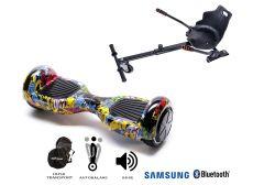PACHET PROMO Smart Balance: Hoverboard Regular HipHop + Hoverseat, roti 6.5 inch Bluetooth, baterie Samsung, Boxe incorporate, AutoBalans, Geanta de transport, putere 700W, led-uri, lumini de zi/noapte, autonomie 15 km