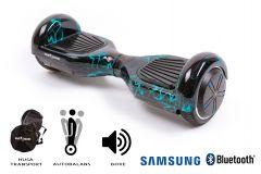 Hoverboard Smart Balance, Regular Thunderstorm, roti 6,5 inch Bluetooth, baterie Samsung, Boxe incorporate, AutoBalans, Geanta de transport, putere 1000W, led-uri, lumini de zi/noapte, autonomie 15 km