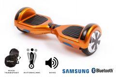 Hoverboard Smart Balance, Regular Orange, roti 6,5 inch Bluetooth, baterie Samsung, Boxe incorporate, AutoBalans, Geanta de transport, putere 700W, led-uri, lumini de zi/noapte, autonomie 15 km