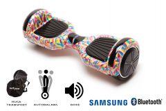Hoverboard Smart Balance, Regular Abstract, roti 6,5 inch Bluetooth, baterie Samsung, Boxe incorporate, AutoBalans, Geanta de transport, putere 700W, led-uri, lumini de zi/noapte, autonomie 15 km