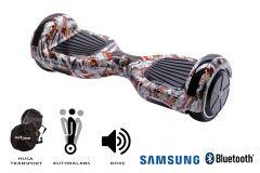 Hoverboard Smart Balance, Regular Tattoo, roti 6,5 inch Bluetooth, baterie Samsung, Boxe incorporate, AutoBalans, Geanta de transport, putere 700W, led-uri, lumini de zi/noapte, autonomie 15 km