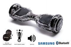 Hoverboard Smart Balance, Regular SkullHead, roti 6,5 inch Bluetooth, baterie Samsung, Boxe incorporate, AutoBalans, Geanta de transport, putere 1000W, led-uri, lumini de zi/noapte, autonomie 15 km