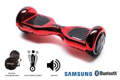 Hoverboard Smart Balance, Regular ElectroRed, roti 6,5 inch Bluetooth, baterie Samsung, Boxe incorporate, AutoBalans, Geanta de transport, putere 1000W, led-uri, lumini de zi/noapte, autonomie 15 km