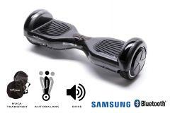 Hoverboard Smart Balance, Regular Carbon, roti 6,5 inch Bluetooth, baterie Samsung, Boxe incorporate, AutoBalans, Geanta de transport, putere 1000W, led-uri, lumini de zi/noapte, autonomie 15 km