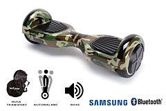 Hoverboard Smart Balance, Regular Camouflage, roti 6,5 inch Bluetooth, baterie Samsung, Boxe incorporate, AutoBalans, Geanta de transport, putere 700W, led-uri, lumini de zi/noapte, autonomie 15 km