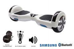 Hoverboard Smart Balance, Regular White Pearl, roti 6,5 inch Bluetooth, baterie Samsung, Boxe incorporate, AutoBalans, Geanta de transport, putere 700W, led-uri, lumini de zi/noapte, autonomie 15 km