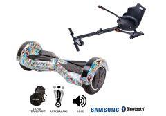 PACHET PROMO Smart Balance: Hoverboard Transformers Clown + Hoverseat, roti 8 inch Bluetooth, baterie Samsung, Boxe incorporate, AutoBalans, Geanta de transport, putere 700W, led-uri, lumini de zi/noapte, autonomie 15 km