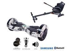 PACHET PROMO Smart Balance: Hoverboard Transformers News Paper + Hoverseat, roti 8 inch Bluetooth, baterie Samsung, Boxe incorporate, AutoBalans, Geanta de transport, putere 700W, led-uri, lumini de zi/noapte, autonomie 15 km