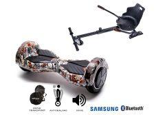 PACHET PROMO Smart Balance: Hoverboard Transformers Tattoo + Hoverseat, roti 8 inch Bluetooth, baterie Samsung, Boxe incorporate, AutoBalans, Geanta de transport, putere 700W, led-uri, lumini de zi/noapte, autonomie 15 km