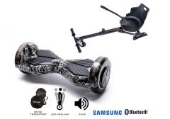 PACHET PROMO Smart Balance: Hoverboard Transformers SkullHead + Hoverseat, roti 8 inch Bluetooth, baterie Samsung, Boxe incorporate, AutoBalans, Geanta de transport, putere 700W, led-uri, lumini de zi/noapte, autonomie 15 km