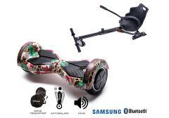 PACHET PROMO Smart Balance: Hoverboard Transformers SkullColor + Hoverseat, roti 8 inch Bluetooth, baterie Samsung, Boxe incorporate, AutoBalans, Geanta de transport, putere 700W, led-uri, lumini de zi/noapte, autonomie 15 km