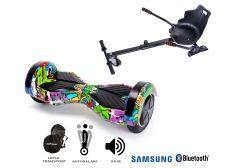PACHET PROMO Smart Balance: Hoverboard Transformers Multicolor + Hoverseat, roti 8 inch Bluetooth, baterie Samsung, Boxe incorporate, AutoBalans, Geanta de transport, putere 700W, led-uri, lumini de zi/noapte, autonomie 15 km