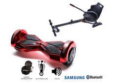 PACHET PROMO Smart Balance: Hoverboard Transformers ElectroRed + Hoverseat, roti 8 inch Bluetooth, baterie Samsung, Boxe incorporate, AutoBalans, Geanta de transport, putere 700W, led-uri, lumini de zi/noapte, autonomie 15 km