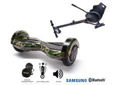 PACHET PROMO Smart Balance: Hoverboard Transformers Camouflage + Hoverseat, roti 8 inch Bluetooth, baterie Samsung, Boxe incorporate, AutoBalans, Geanta de transport, putere 700W, led-uri, lumini de zi/noapte, autonomie 15 km