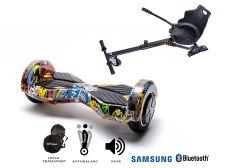 PACHET PROMO Smart Balance: Hoverboard Transformers Hip Hop + Hoverseat, roti 8 inch Bluetooth, baterie Samsung, Boxe incorporate, AutoBalans, Geanta de transport, putere 700W, led-uri, lumini de zi/noapte, autonomie 15 km