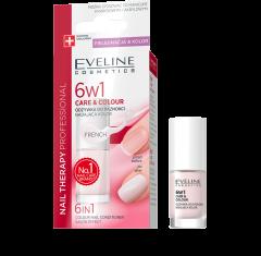 Tratament pentru unghii, Eveline Cosmetics, Care&Colour 6w1, 5 ml, French