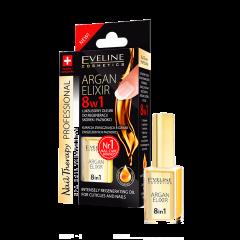 Ulei pentru unghii si cuticule, Eveline Cosmetics, elixir 8 in 1 cu ulei de argan