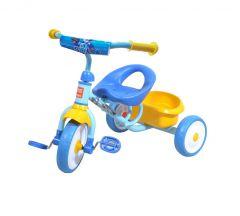 Tricicleta pentru copii cu  cosulet in spate, Galben/Albastru