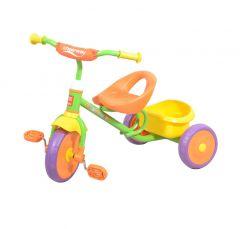 Tricicleta pentru copii cu  cosulet in spate,MICMAX , Galben/ Verde/Portacaliu ,JK11214