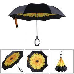 Umbrela de ploaie reversibila 106cm Imprimeu Interior Floarea Soarelui