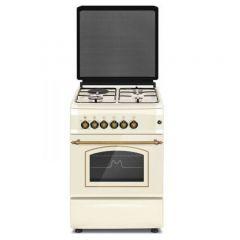 Aragaz mixt Studio Casa Firenze FE50 553G 1EL, 3 arzatoare gaz, 1 arzator electric, Cuptor electric, Aprindere electrica, 50 cm, Beige