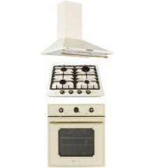 Pachet rustic Studio Casa, cuptor electric , plita pe gaz si hota decorativa , gratare fonta, 270 mc / h, finisaj crem