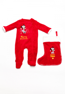 Pijama Crăciun 3 piese bebe Minnie 3/36 luni