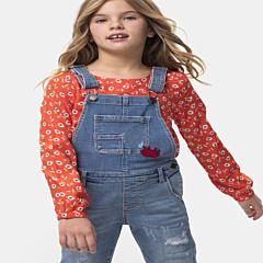 Salopetă jeans fete 4/16 ani