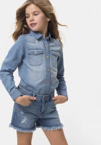 Pantaloni scurți jeans fete 5/16 ani