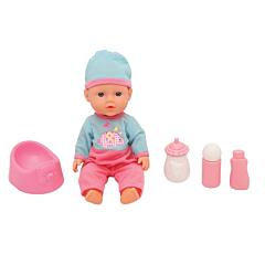 Papusa bebelus cu 4 accesorii, 30 cm, Roz/Albastru