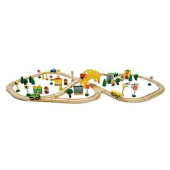 Circuit de tren din lemn, 80 piese, Multicolor